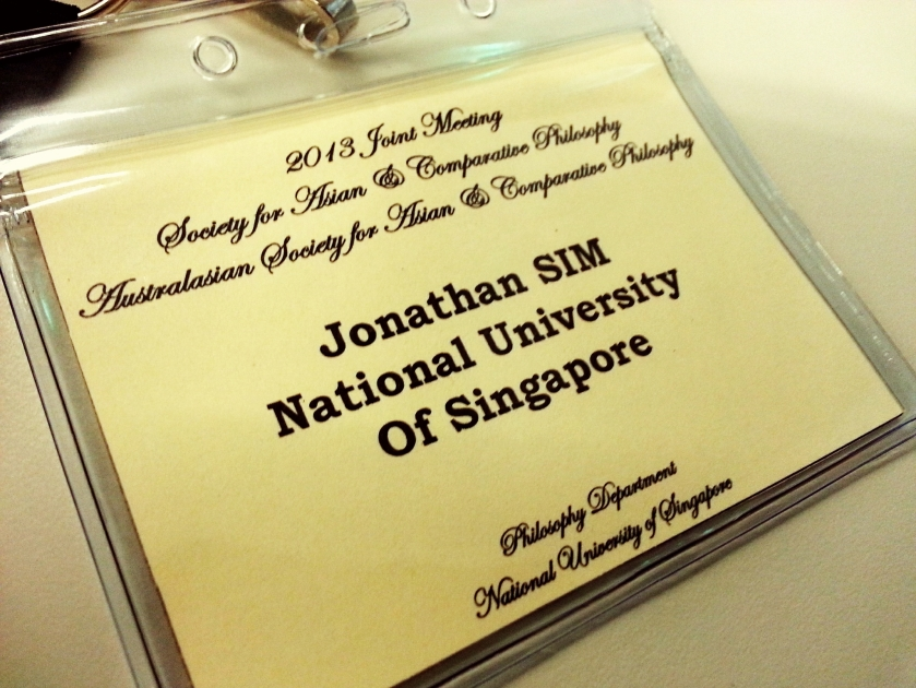 Name tag for the conference. It's such an honour and privilege for an undergraduate/fresh graduate like me to be present wearing this name tag amidst a crowd of about a hundred professors and PhD students all over the world, and to present a paper just like them!